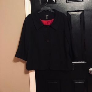 Plus Size Black  Dress Jacket with Big Buttons